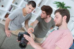 Group friends photographers taking photo together Stock Photography