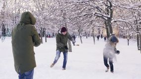Group of friends playing snowballs and having fun in snowy park, slow motion stock video