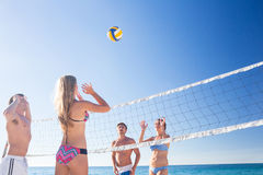 Group of friends playing volleyball Royalty Free Stock Photos