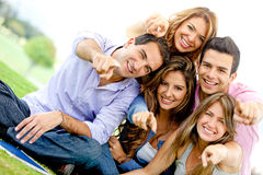 Group of friends pointing Royalty Free Stock Photos