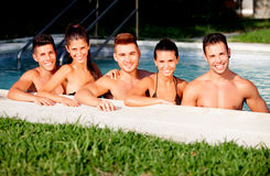 Group of friends at the pool Stock Image