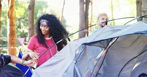Group of friends preparing tent at music festival 4k. Group of friends preparing tent at music festival in park 4k stock video