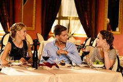 Group of friends in restaurant Royalty Free Stock Image