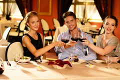 Group of friends in restaurant Stock Photography