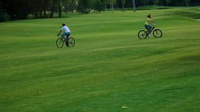 Group of friends riding bicycles on green grass. stock footage