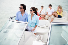 Group of friends sailing Stock Images