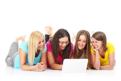 Group of friends searching the internet Stock Photography