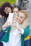 Group friends selfie royalty free stock images
