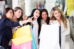 Group of friends shopping Royalty Free Stock Photo