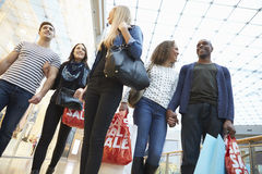 Group Of Friends Shopping In Mall Together Stock Image