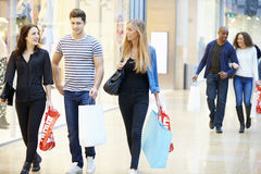 Group Of Friends Shopping In Mall Together Royalty Free Stock Photo
