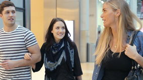 Group Of Friends Shopping In Mall Together stock video