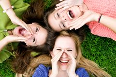 Group of friends shouting Stock Images