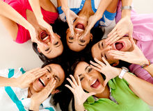 Group of friends shouting Stock Photos