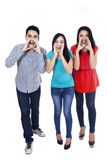 Group of friends shouting Stock Image