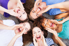 Group of friends shouting. Young group of friends shouting Stock Photos