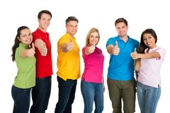 Group of friends showing thumbs up Royalty Free Stock Photo