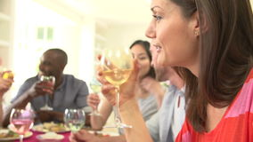 Group Of Friends Sitting Around Table Having Dinner Party stock footage