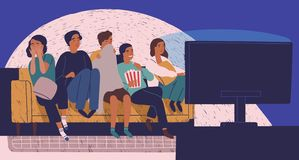 Group of friends sitting on sofa or couch in darkness and watching scary movie. Young girls and boys with scared faces. Look at TV screen. Colorful vector vector illustration
