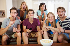 Group Of Friends Sitting On Sofa Watching TV Together Royalty Free Stock Images