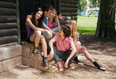 Group of friends smiling outdoors Stock Photo