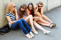 Group of friends smiling outdoors Royalty Free Stock Photo