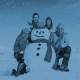 Group Of Friends in The Snow Smiling Cheerful Concept Royalty Free Stock Images
