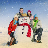 Group Of Friends in The Snow Smiling Cheerful Concept Stock Image
