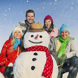 Group Of Friends in The Snow Smiling Cheerful Concept Royalty Free Stock Photos