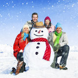 Group Of Friends in The Snow Smiling Cheerful Concept Stock Images