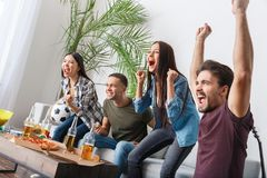 Group of friends sport fans watching match cheering team. Young women and men watching tv together soccer match drinking beer eating snacks cheering favorite stock photos
