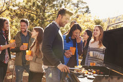 Group of friends stand at a barbecue, one cooking at grill Stock Image