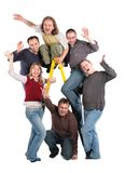 Group of friends on step-ladder Royalty Free Stock Photo