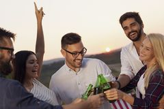 Friends drinking beer at the party. Group of friends at a summertime outdoor party having fun, dancing, drinking beer and making a toast royalty free stock photos