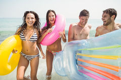 Group of friends in swimsuits Royalty Free Stock Photos