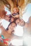 Group of friends in swimsuits taking a selfie. At the beach Royalty Free Stock Photography