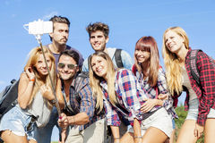 Group of friends taking a self portrait Royalty Free Stock Images