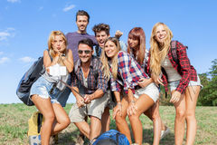 Group of friends taking a self portrait Royalty Free Stock Photo
