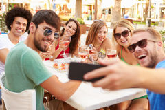 Group Of Friends Taking Selfie During Lunch Outdoors Stock Photos