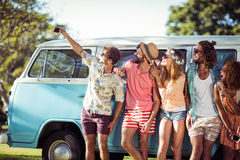 Group of friends taking selfie from mobile phone Royalty Free Stock Photos