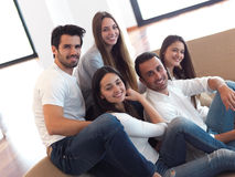 Group of friends taking selfie Stock Photo