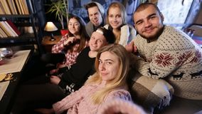 Group of friends taking selfie on smart phone Royalty Free Stock Photos