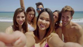 Group of Friends Taking Selfie on Sunny Beach stock video