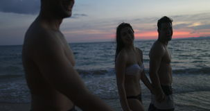 Group Of Friends Talking On Beach At Sunset POV, Young People Happy Smiling Walk Seaside During Summer Vacation On Sea. Slow Motion 60 stock footage