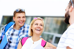 Group of friends talking in the campus Stock Image