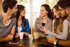Friends at the cafe royalty free stock photos