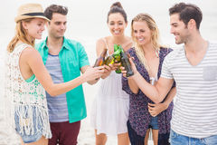 Group of friends toasting beer bottles on the beach. Group of happy friends toasting beer bottles on the beach stock photography