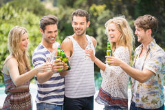 Group of friends toasting beer bottles near pool. Group of friends toasting beer bottles while enjoying near pool Stock Image
