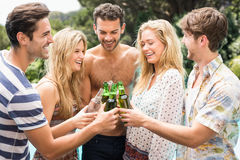 Group of friends toasting beer bottles near pool. Group of friends toasting beer bottles while enjoying near pool Stock Photo