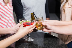 Group of friends toasting with beer and cocktails Royalty Free Stock Image